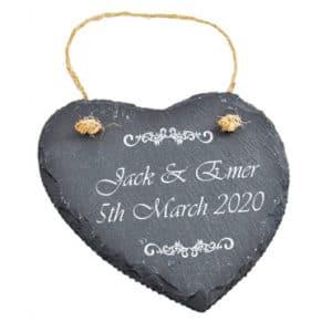 Personalised Slate heart - Wedding decor - Wee County Trophies