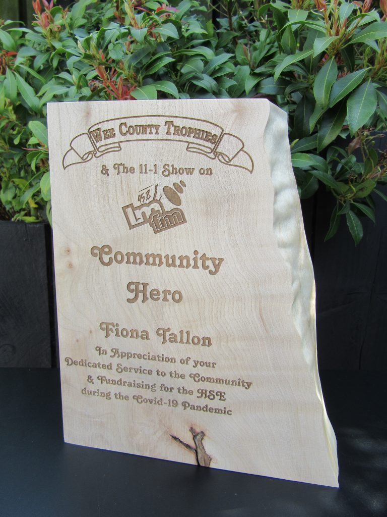 Community Hero award - LMFM and Wee county Trophies