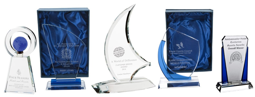 Engraved crystal trophies for special events and business events